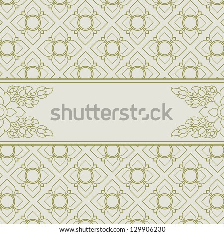 Frame with Thai art wall pattern background - stock vector
