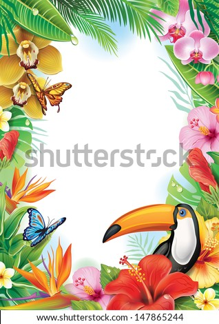 Frame with tropical flowers, butterflies and toucan - stock vector