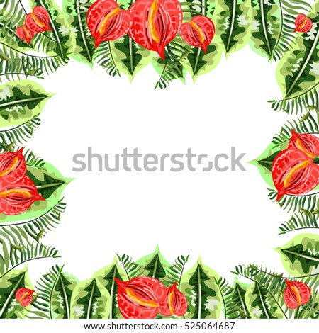 Frame with tropical leaves and flowers