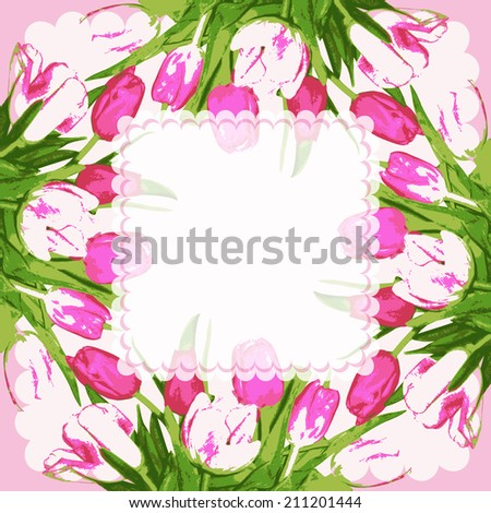 Frame with tulips flowers. Background decoration adorable bouquet flowers.Vector illustration.  - stock vector
