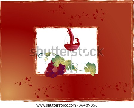 Frame with wineglass and bunch of grapes - stock vector