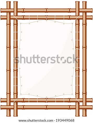 Framed bamboo banner. Bamboo border isolated design element. Bamboo sign. Tiki border. Bamboo poster. Parchment banner with bamboo frame. Copy space. Vector file is EPS8, all elements are grouped. - stock vector