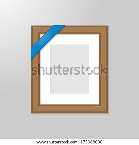 Framed picture - vertical - with blue corner ribbon - stock vector