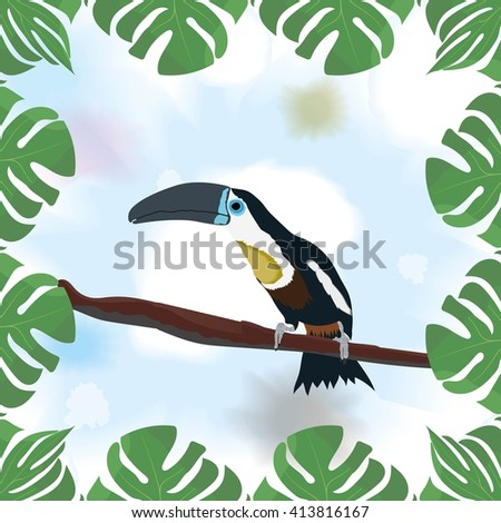 Framed Toucan sitting on a branch on watercolor background. Vector