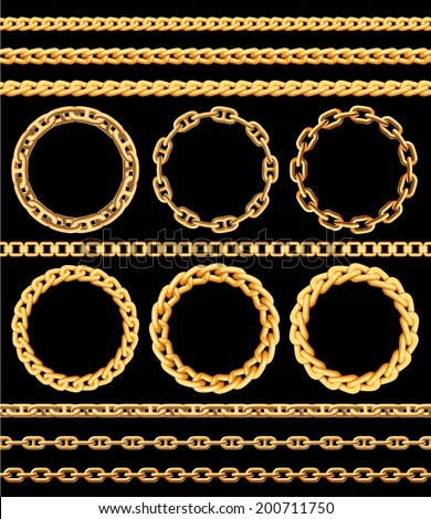 Frames and borders made of golden chains. Vector illustration - stock vector