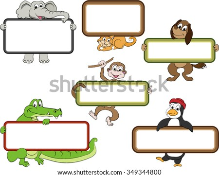 Frames and Cartoon Animals. Blank labels held by cute animal cartoon figures. Smiling elephant, cat, dog, monkey, alligator, penguin. Each cartoon character is on a separate layer. - stock vector