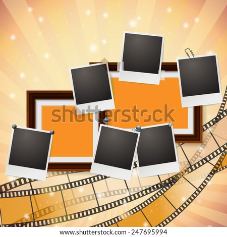 frames and photos with retro filmstrip composition - stock vector