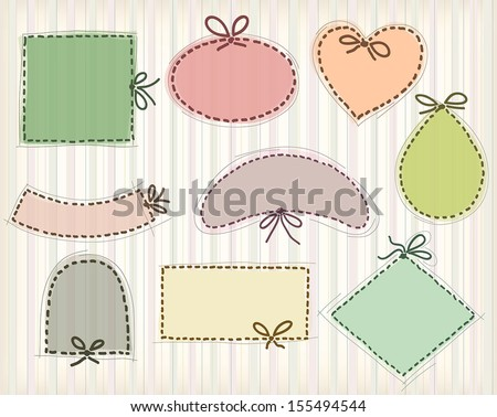 frames in different shapes, imitating hand stitch with a bow - stock vector