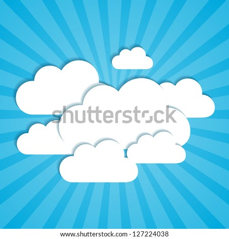 Frames in the form of clouds on background sunlight.  Vector illustration. - stock vector