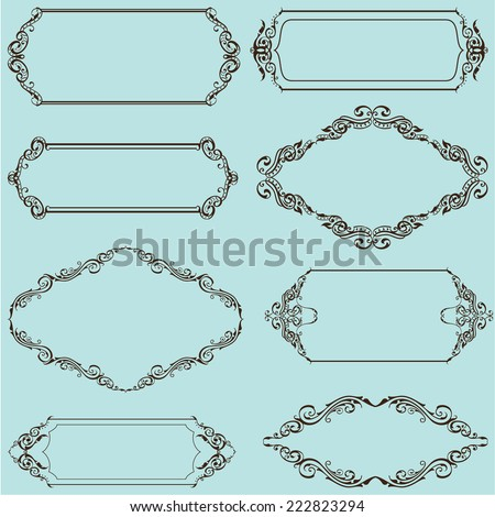 Frames nice set is on blue - stock vector