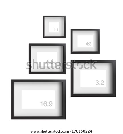 Frames of different proportions isolated on white a background. Detailed vector illustration. Realistic. Print quality. - stock vector