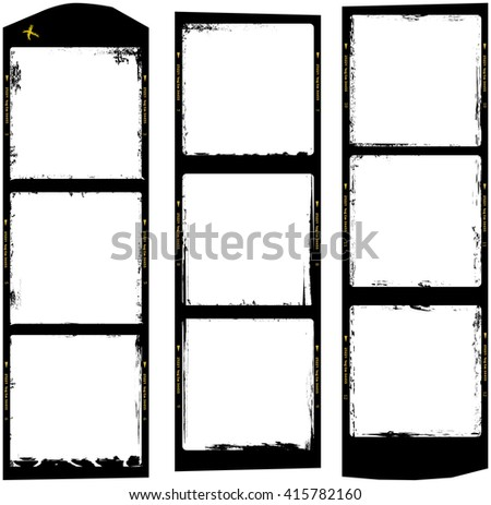 frames of medium format film, grungy photo frames,with free copy space,  - stock vector