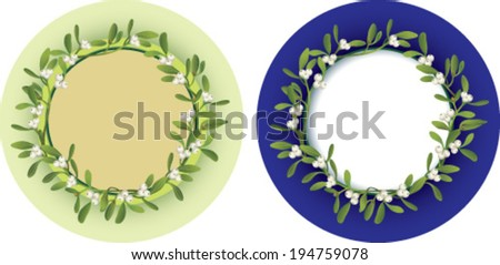 Frames of mistletoe with free central space  - stock vector