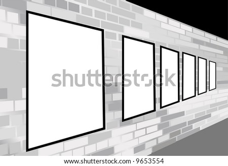 frames on brick white wall vector
