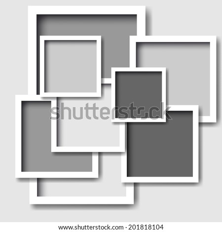 Frames on the white wall. Vector illustration