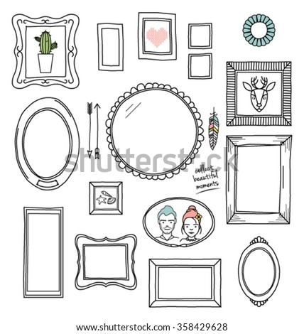 FRAMES PATTERN. Frames layout composition. Can be use for decoration, print, graphic design, cards etc.  - stock vector