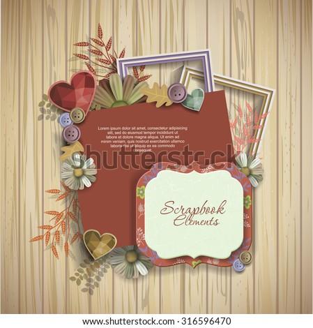 frames & scrapbook elements on wooden texture - stock vector
