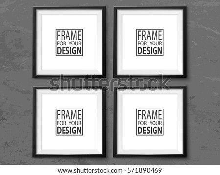 Frames Wall Gallery On Grunge Grey Stock Vector 571890469 - Shutterstock