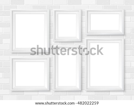 modern white picture frames. Frames Wall Gallery On White Brick Wall. Modern Picture Mock Up. Empty E