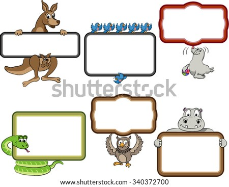 Frames with Cartoon Animals. Blank frames with cartoon animals holding up the frames. Snake, Kangaroo, Owl, Bluebirds, Hippo, Seal. Frames are text ready. Vector cartoon lines with separate fills. - stock vector