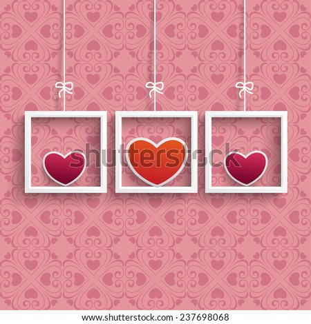 Frames with colored hearts and ornaments on the pink background. Eps 10 vector file. - stock vector