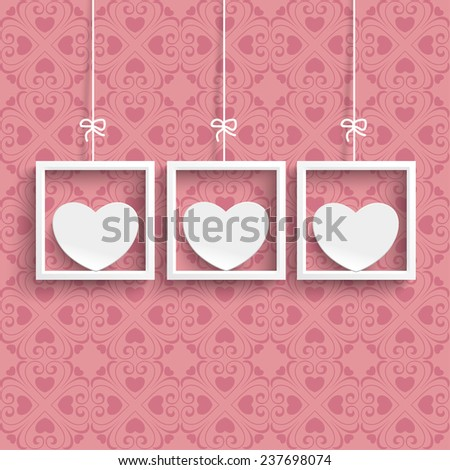 Frames with white hearts and ornaments on the pink background. Eps 10 vector file. - stock vector
