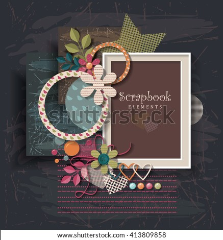 framework for invitation or congratulation. scrapbook elements.  Design template for you text. - stock vector