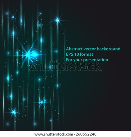 framework for your text with light lines and stars - stock vector