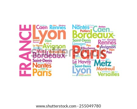 FRANCE abbreviation letters with cities names words cloud, vector concept background