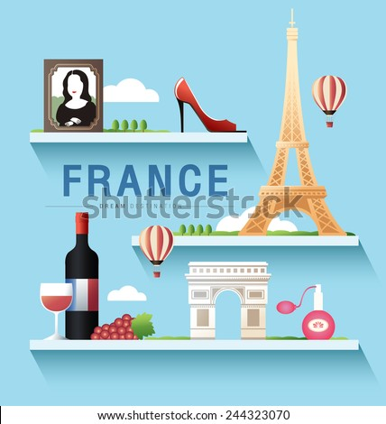 France and Paris and Eiffel Tower ,Destination ,vector set ,shelf - stock vector
