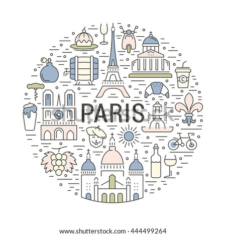 France and Paris City concept. Symbols isolated on background. Web banner with scooter, wine, architecture, cycle, and culture thing. France illustration. Paris vector label. Vector emblem Paris.