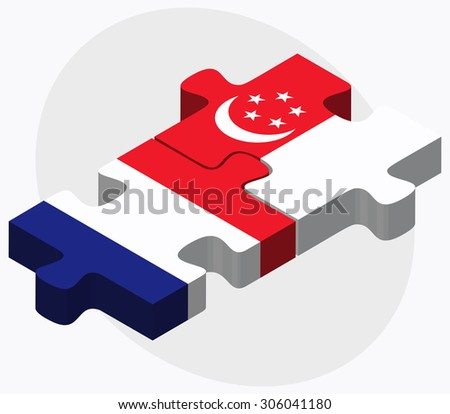 France and Singapore Flags in puzzle isolated on white background