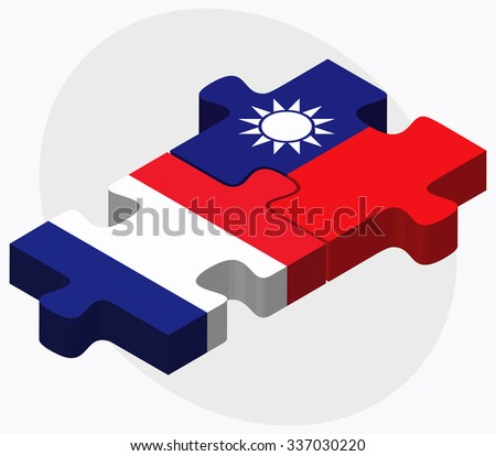 France and Taiwan Flags in puzzle isolated on white background - stock vector