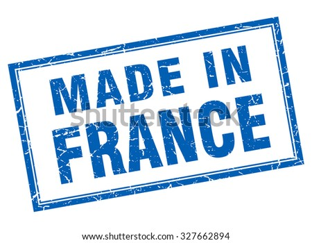 France blue square grunge made in stamp