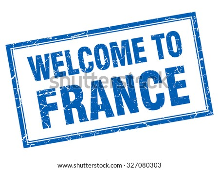 France blue square grunge welcome isolated stamp