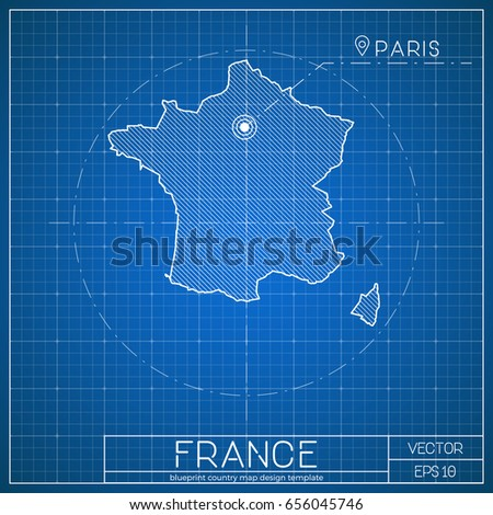 France blueprint map template capital city stock vector royalty france blueprint map template with capital city paris marked on blueprint french map vector malvernweather Image collections