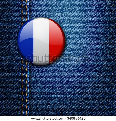 France Bright Colorful Badge on Denim Fabric Texture Vector - stock vector