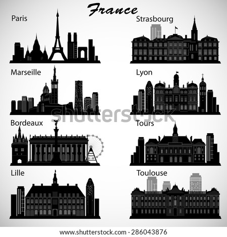 france cities skylines set vector silhouettes stock vector 286043876 shutterstock. Black Bedroom Furniture Sets. Home Design Ideas