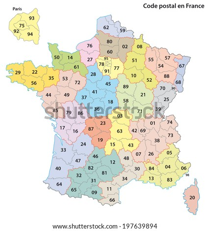 france 2-digit postcodes map - stock vector
