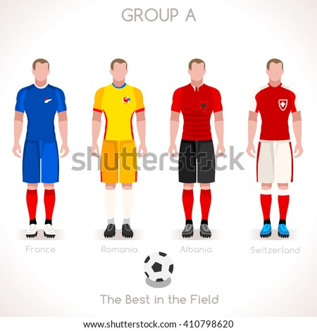 France EURO 2016.Soccer Group A Player Athletes.Vector France 2016 Match. EURO Championship Football Game.Soccer International Match Illustration. Soccer European Cup 2016 Group A Player - stock vector