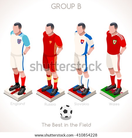 France EURO 2016.Soccer Group B Player Athletes.Vector France 2016 Match. EURO Championship Football Game.Soccer International Match Illustration. Soccer European Cup 2016 Group B Player Isometric - stock vector