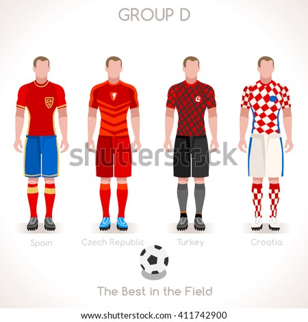 France EURO 2016.Soccer Group D Player Athletes.Vector France 2016 Match. EURO Championship Football Game.Soccer International Match Illustration. Soccer European Cup 2016 Group D Player - stock vector