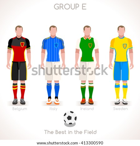 France EURO 2016.Soccer Group E Player Athletes.Vector France 2016 Match. EURO Championship Football Game.Soccer International Match Illustration. Soccer European Cup 2016 Group E Player - stock vector