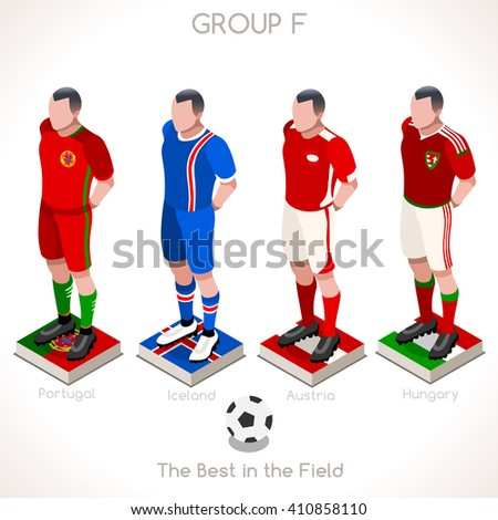 France EURO 2016.Soccer Group F Player Athletes.Vector France 2016 Match. EURO Championship Football Game.Soccer International Match Illustration. Soccer European Cup 2016 Group F Player Isometric - stock vector