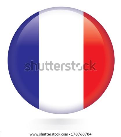 France flag button - stock vector