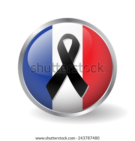 France flag button with a black ribbon vector - stock vector
