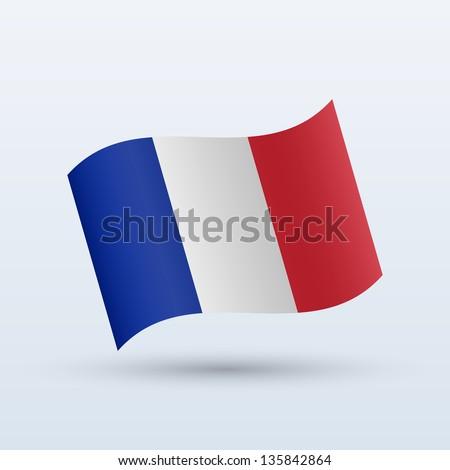 France flag waving form on gray background. Vector illustration. - stock vector