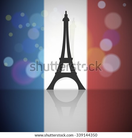 France flag with Eiffel tower background - stock vector