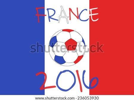 France 2016 Football poster. France flag background, typographic design. - stock vector