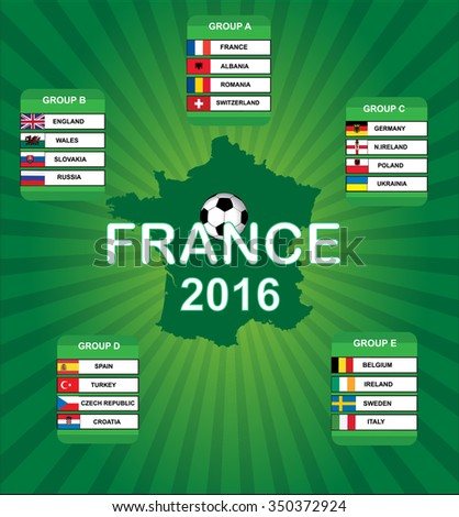 France 2016 group stages vector artwork  - stock vector